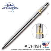 Fisher Space Pen 銀色筆身太空梭徽章筆夾太空筆 #CH4SH 【AH02180】
