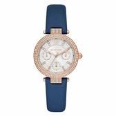 Michael Kors 華麗晶鑽三眼腕錶-藍色-MK2915