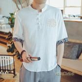 中國風男裝亞麻套裝棉麻短袖T恤半袖五分袖唐裝大碼胖子寬鬆夏季「時尚彩虹屋」
