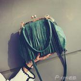 流蘇包女 日韓版復古流蘇夾子包手提包單肩斜背包貝殼包女包潮   ciyo黛雅