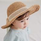 遮陽帽 正韓 Happy Prince 蕾絲綁帶編織遮陽帽 編織帽 - 棕 Torchon Ribbon Straw Hat