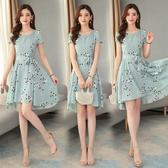 洋裝 輕熟風 淑女裙 9029夏森系智熏法式高腰波點雪紡連身裙收腰顯瘦氣質H325依佳衣