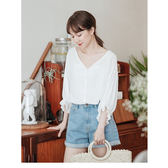 JoYcE ShOp.Daily.輕甜縮口荷葉袖襯衫-米白【04-01032989】