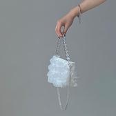手提包 復古單肩手提仙女包夏天溫柔仙氣包包迷你珍珠鏈條水桶包