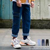 【OBIYUAN】牛仔褲 寬鬆 翻蓋口袋 單寧工作褲 共3色【Y0811】