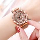 快速出貨 手錶時來運轉男女學生手錶簡約潮流百搭旋轉手錶星空滿鑚男女士情侶表