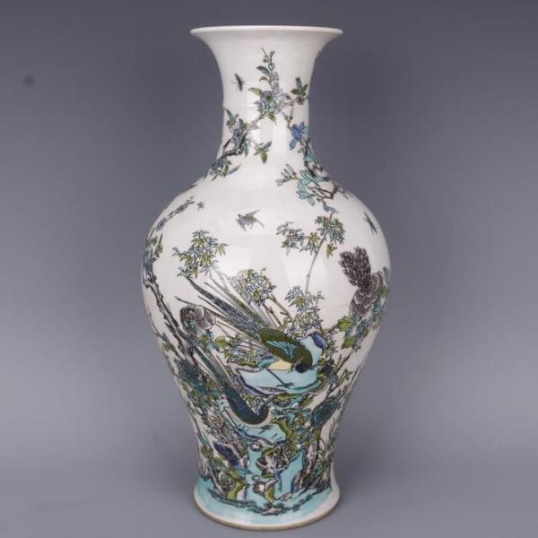 清康熙古彩花鳥魚尾瓶仿古工藝瓷器家居中式老貨擺件古董古玩收藏1入