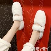 毛毛鞋女冬外穿年新款時尚網紅同款平底秋冬懶人一腳蹬毛毛鞋新品