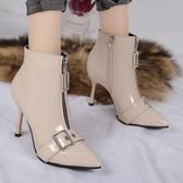 細跟短靴性感網紅尖頭瘦瘦靴細跟高跟鞋漆皮亮皮OL時尚短靴裸靴女秋冬聖誕交換禮物