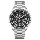 LUMINOX 雷明時 海豹部隊鐵漢計時系列 鋼鍊腕錶-黑x白時標/44mm