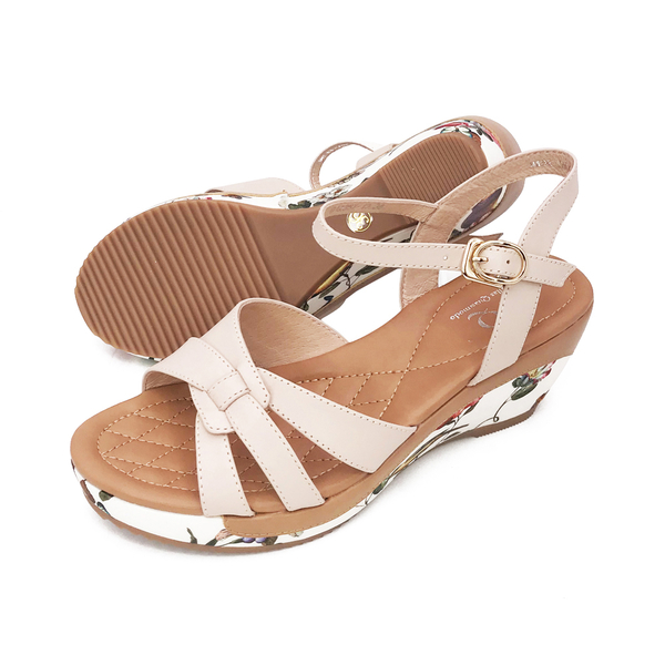 PQ(女) 繁花楔型厚底套腳涼鞋 女鞋 - 奶茶色(另有黑)