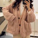 外套-暖呼呼素面開衫單排釦大口袋毛絨絨羊羔毛外套Kiwi Shop奇異果1025【SZZ0090】