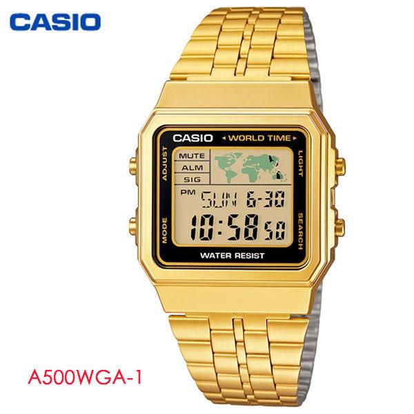 CASIO 復古金黑框方形多功能電子錶・A500WGA-1・復古金錶・不鏽鋼帶・公司貨