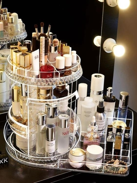 旋轉化妝品收納盒抖音同款亞克力桌面網紅家用梳妝台護膚品置物架「時尚彩紅屋」
