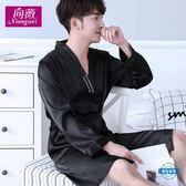 睡衣正韓睡袍夏季男士浴袍絲綢睡衣男士長袖夏季薄款冰絲浴衣家居服