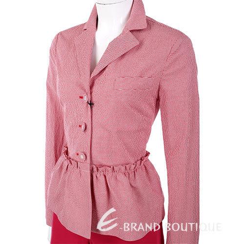 LOVE MOSCHINO 紅/白色 甜美格紋 腰間抓褶 西裝外套 1310636-49
