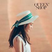 Queen Shop【07020483】夏日感配色綁結編織草帽*預購*