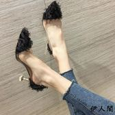 小清新高跟鞋少女尖頭淺口貓跟單鞋