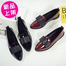 【A-8】尖頭淺口蝴蝶結低跟平底鞋 單鞋 休閒鞋 (黑.酒紅/36-39)