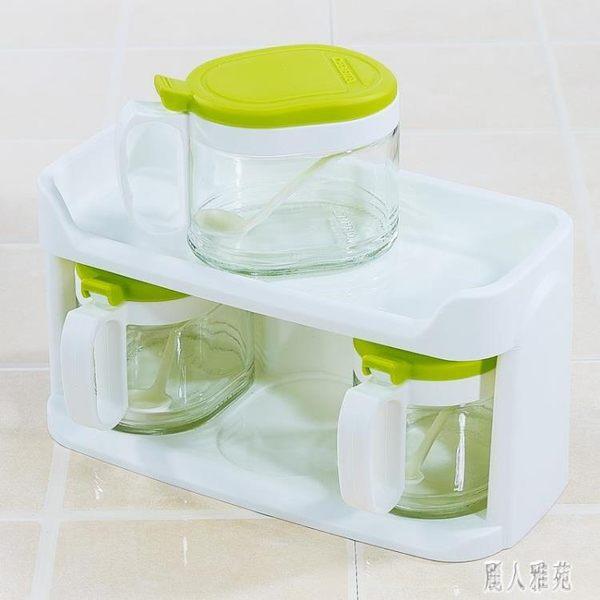 茶花玻璃調味盒調味罐套裝雙層家用廚房調味瓶罐鹽罐調料400ml*3 DJ11587『麗人雅苑』