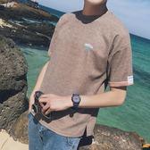 夏季2018新款男士短袖t恤半袖韓版日系潮流學生個性男裝亞麻T恤衫 魔方數碼館