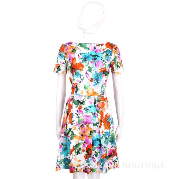 BLUGIRL 白色印花手繪圖棉質短袖洋裝 1620462-20
