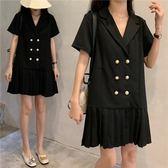 促銷價不退換中大尺碼3513#夏新款胖mm西裝連衣裙200斤(R032)皇潮天下