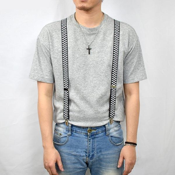 吊帶 經典黑白格紋復古窄版NKD21