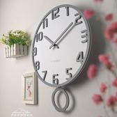 現代簡約掛鐘創意歐式個性木質時鐘客廳臥室靜音石英搖擺鐘igo「夢娜麗莎精品館」