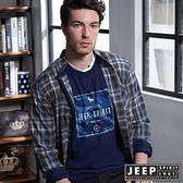 【JEEP】美式洗舊風格紋長袖襯衫 (灰藍格)