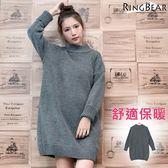 毛衣--輕熟女性保暖至上高領落肩袖反摺套頭素面長版針織毛衣(灰XL-3L)-A248眼圈熊中大尺碼◎