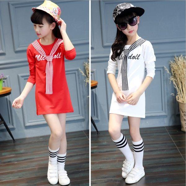衣童趣♥韓版 中大女童 長版T恤 前假領帶 甜美個性款 百搭長袖上衣
