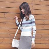 韓版條紋打底衫毛衣女上衣套頭修身針織衫