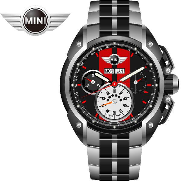 【萬年鐘錶】MINI Swiss Watches英國風格  黑面紅條三眼外圈數字日期 黑銀雙色鋼鍊帶錶  45mm MINI-01S