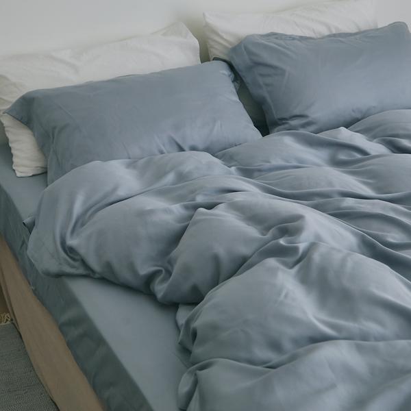 天絲 60支 床包被套組(鋪棉被套) 加大【藍花亞麻】 涼感 親膚 100%tencel 萊賽爾纖維 翔仔居家