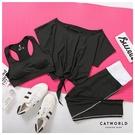 Catworld 自由律動。BRA背心加上衣長褲瑜珈運動套裝三件組【16600451】‧M-2XL