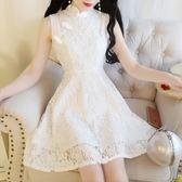 中大尺碼 旗袍洋裝小個子蕾絲初戀裙復古盤扣洋裝高腰裙子改良旗袍LJ9910『夢幻家居』