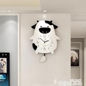 靜音兒童卡通時尚鐘錶掛鐘客廳創意個性靜音家用裝飾墻掛錶時鐘 LX 韓國時尚週