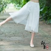雪紡繡花闊腿褲女 蕾絲拼接大腳褲 七分褲 休閒褲子裙褲 萬聖節鉅惠