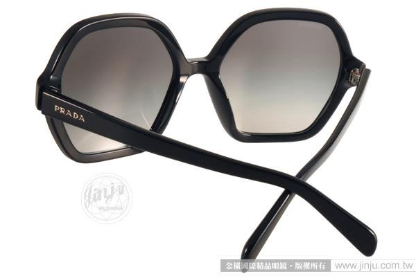 PRADA太陽眼鏡 PR06S 1AB0A7 (黑) 名品時尚造型大框款 # 金橘眼鏡