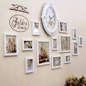 歐式實木照片牆客廳臥室沙發背景相片牆裝飾創意時鐘組合相框掛牆WY 尾牙 限時鉅惠
