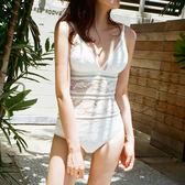 比基尼泳衣韓版新款泳衣女性感連體比基尼性感露背遮肚蕾絲鏤空溫泉保守泳裝 快速出貨