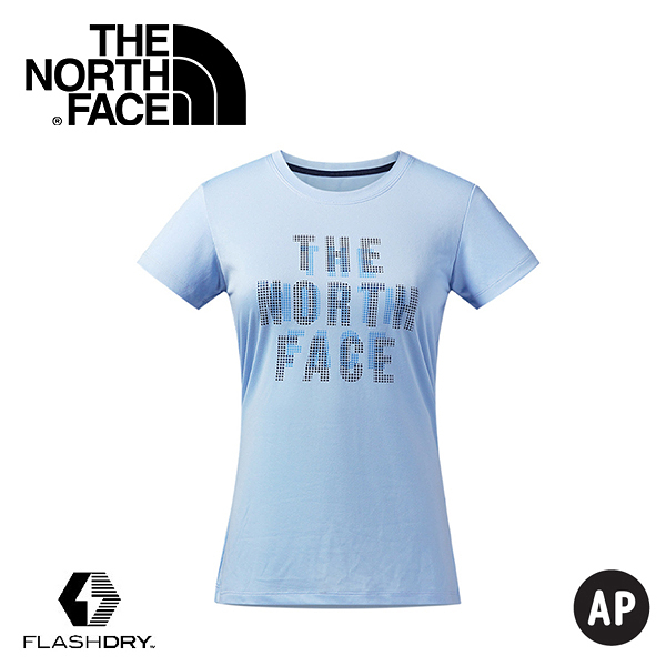 【The North Face 女款 FlashDry Print Tee 短袖排汗衣〈藍〉】2XV4/短袖/排汗衣/運動上衣