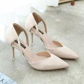 新款春季性感小清新高跟鞋少女細跟尖頭淺口漆皮裸色單鞋女伴娘鞋   夢曼森居家