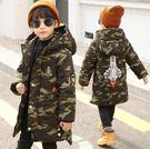 男童迷彩棉大衣外套2019年冬裝新款兒童外套 中大童潮範中長款連帽上衣 保暖時尚百搭外衣