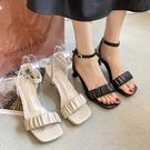 方頭鞋.法式甜美抓皺一字繞踝高跟涼鞋.白鳥麗子