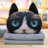 卡通可愛貓咪抱枕被子三用靠墊珊瑚絨汽車辦公室空調被靠枕毯枕頭 小確幸生活館