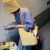 新款ins草編包女手工草包編織包手提海邊度假沙灘包單肩水桶包夏 ATF艾瑞斯