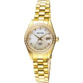 RHYTHM日本麗聲 優雅晶鑽機械日期女錶-珍珠貝x金/28mm RA1626S04