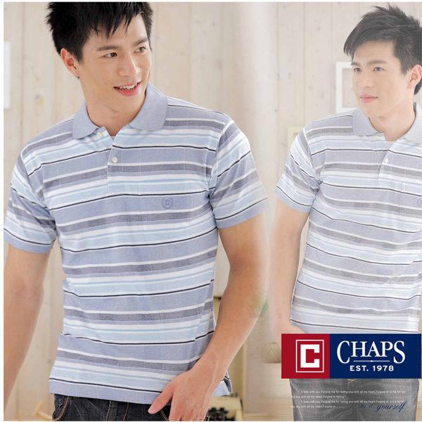 【大盤大】CHAPS 男 橫條紋POLO衫 藍 S號 有領休閒衫 純棉 日本百貨正品 父親節 生日 情人節禮物